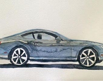 Bentley, Bentley Continental, Car watercolor, Watercolor car, car art, car painting, British car, exotic car, child artist, Bentley painting