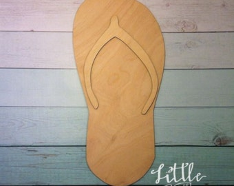 Flip Flop wood blank / DIY /unpainted / sanded / great for door hanger or wreath
