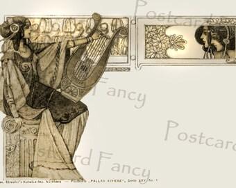 Stunning Vintage Postcard, Art Nouveau Pallas Athene Harpist Illustration, Instant Digital Download, Add Text
