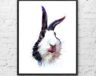 Hare art watercolor nursery animal print, rabbit print, woodlands nursery decor, baby shower gift, woodland animal decor - R70