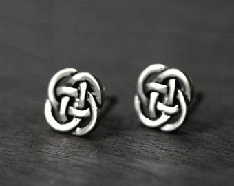 Celtic Earrings - Eternity Love Knot Studs