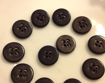 Vintage buttons, 12 small black 1940's style