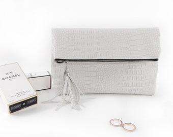 Bridal clutch bag Wedding purse bag Bridesmaid clutch Leather bridal bag White wedding bag Leather wedding purse Leather bridal purse