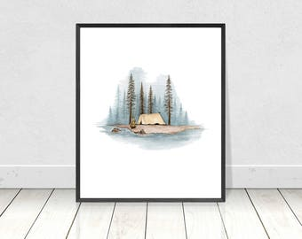 Satin Matte Poster Print of Camping in a Tent with a View of the Forest- Cold Winter Scenery Landscape Art Print- Wall Art and Home Decor