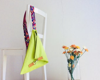 Over the Shoulder Purse in Lime and Aztek Webbing Strap