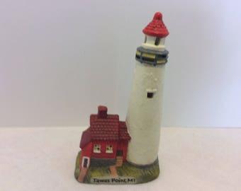 Vintage Ceramic Pottery Handmade Tawas Point Lighthouse, Figurine, Michigan Souvenir, Shabby Chic Nautical Style, Beach House, Cottage Decor