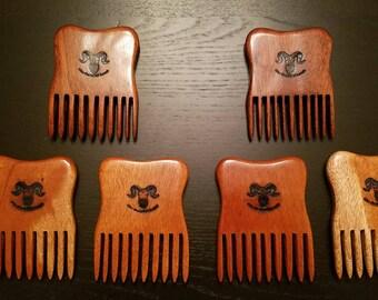 Handcrafted mahogany beard combs