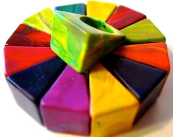 Crayon Rings - Ring Crayons  - Original Rainbow Crayon Ring Crayon - Boxed Set of 4 Original Rainbow Crayon Rings - Easter Gift - Crayons