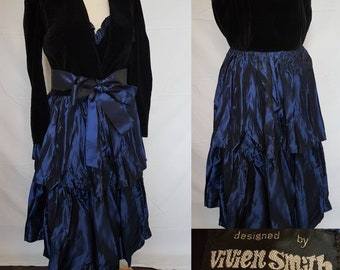 VIVIEN SMITH Evening Dress and bolero jacket black cotton velvet electric blue taffeta with bow belt vintage outfit Made in england small