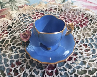 Footed Demitasse Cup and Saucer Set Vintage Colonial Blue Cup Pink Rose Porcelain Flower Gold Trim Cottage Chic Decor Tea Cup Collector
