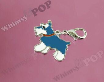 1 - Blue Schnauzer Terrier Dog Charm, Dog Charm, Schnauzer Charm, 20mm x 25mm (R5-087)