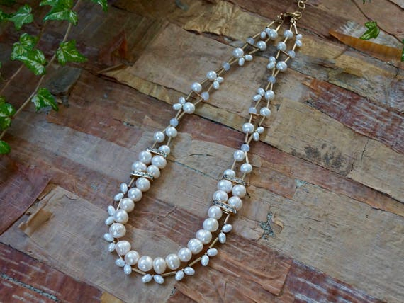 Real natural pearl long necklace