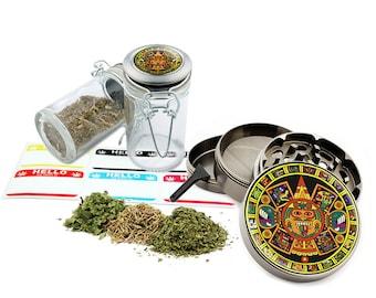 "Aztec - 2.5"" Zinc Alloy Grinder & 75ml Locking Top Glass Jar Combo Gift Set Item # G50-102615-6"