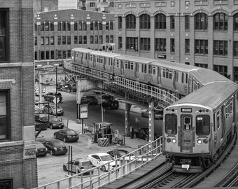 Chicago Photography, Loop CTA Train, Black and White Art, Urban Art, office Wall Art, 8x10,11x14,24x30,Office Decor, Chicago Poster, Chicago