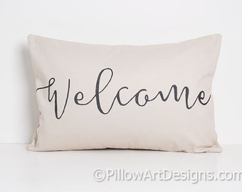 Welcome Pillow Beige Black Lumbar with Insert 12 X 18 Fully Lined Made in Canada