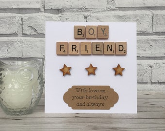 Boyfriend Birthday Card, Boyfriend Scrabble Birthday Card, Scrabble Birthday Card For Boyfriend, Scrabble Birthday Card