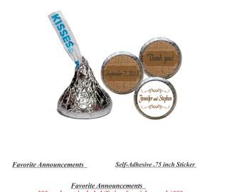 Burlap Stickers, Wedding Favors, Custom Stickers, Kiss Stickers, Kisses Stickers, Candy Kiss Stickers (Set of 108) (RBurlap)