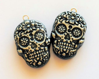 Black and Silver Sugar Skull Handmade Polymer Clay Beads Eye Pins Attached