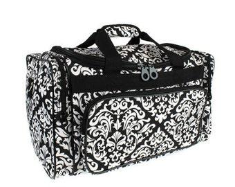 Monogrammed Damask Duffel Bag/ Black& White