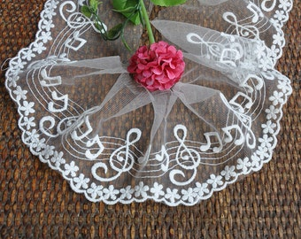 3 Yards White Music Note Lace Trims 4.33 Inches Wide YL018