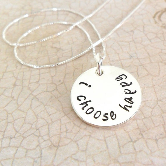 Custom Quote Necklace | Sterling Silver Pendant | Hand Stamped Quote | Personalized Word Necklace | Quote Jewelry | Sterling Silver Disc
