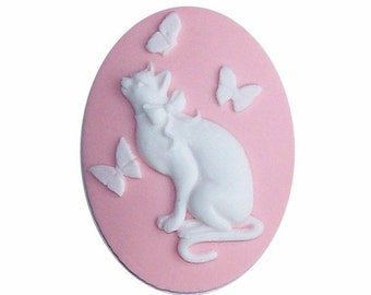 40x30 fairy kei Resin Cat Cameo Butterfly cabochon Pink White butterfly cameo 30x40 plastic stone diy cat jewelry supplies or ornament 606x