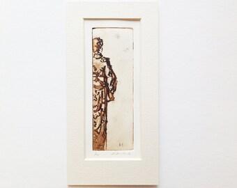 original etching and aquatint of a lady wearing kimono