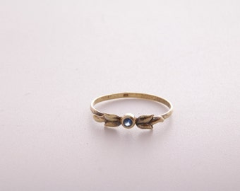 Blue sapphire gold plate and sterling silver stacking ring / sapphire ring / blue sapphire and sterling silver / dainty ring / size 7 / 1367