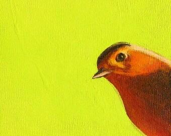 peeking bird original painting robin on lime green background bird paintings small bird painting