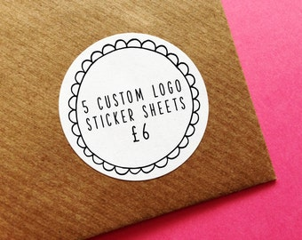 5 Custom Logo Sticker Sheets, Business Logo Stickers, Personalised Business Labels, Planner Stickers, Wedding Stickers, Envelope Seals