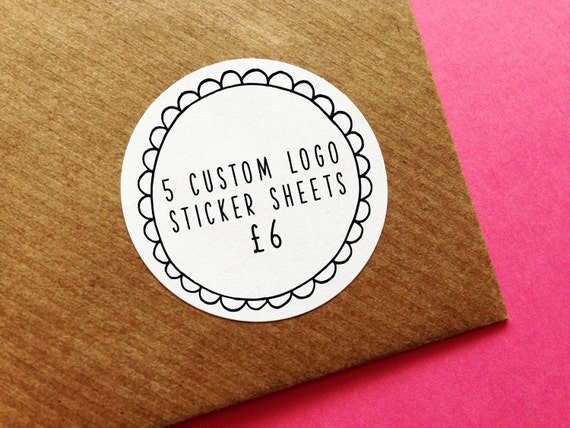 5 custom logo sticker sheets business logo stickers personalised business labels planner stickers wedding stickers envelope seals from sarahburnsprints