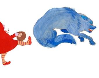 Rotkäppchen. Druck. Kunstdruck. Wanddekoration. Märchen. Kinderzimmer. Illustration. Selbstverteidigung. Wolf. Spaziergang im Wald.