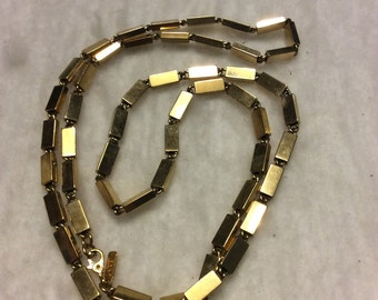 Vintage Monet gold metal box links chain necklace .