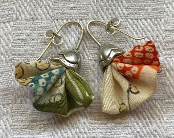 Japanese Vintage Textile Earrings, Recycled Kimono Fabric, Mother's Day, Birthday
