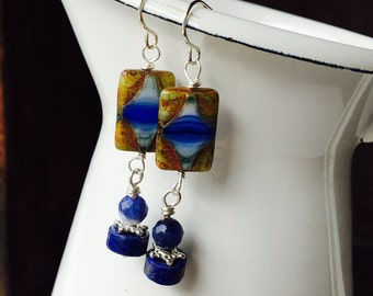 Beaded Dangle Earrings, Czech Glass Beads, Picasso Czech Glass, Lapis Beads, Dangle Earrings, Blue Earrings, Etsy, Etsy Jewelry