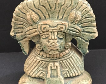 Antique 1930's Harding Black Green Mayan Sculpture Ceramic Pottery Statue Tribal Figurine Southwest Art Witte Museum