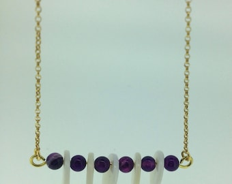 Handmade Amethyst Necklace, Amethyst Pendant, February Birthstone, Gift For Friend, 22k Gold Necklace, Purple Amethyst Beads, Birthday Gift