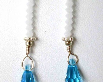 Blue Topaz & Alabaster Swarovski Crystal Earrings