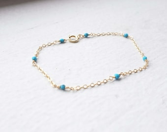 Turquoise Beaded Bracelet / Gold Filled, Blue, Gemstone / Anabel Nove