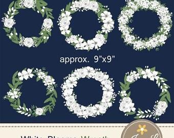 50% OFF White Flower Wreath Clipart, Wedding Flowers, Flower Wreath, Floral Arrangement for digital Scrapbooking, Wedding, Invitations, Plan