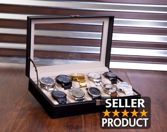 Engraved Watch Case & BONUS Microfiber Cloth, Custom Watch Box, Personalized Watch Display Box, Groomsman Best Man Gift, Jewelry Box Unique