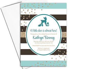 Woodland baby shower invites | gender neutral baby shower invitations | stripes,  brown, mint, gold glitter | printable printed - WLP00757