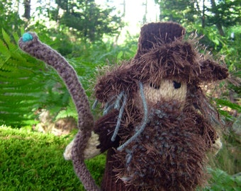 Radagast The Brown, a hand knit wizard and friend of the forest, Middle Earth collection