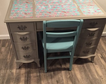 SOLD- Whimsical Blue & Grey Writing Desk