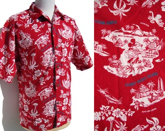 Vintage Disney Shirt Red Trader Mick's Surf Gear Hawaiian Mickey Mouse XL