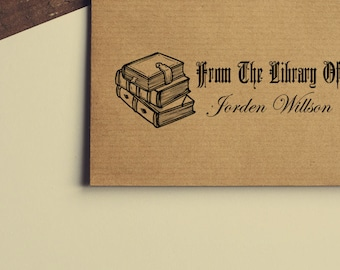 Bookplate Wood Handle / Self inking Stamp # 66 - Personalized bookplate, library stamp, from the library stamp