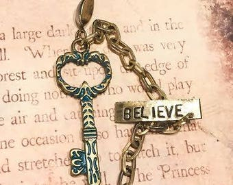 Handstamped Believe old key and coin with antique chain holding them together, one of kind necklace, gorgeous one of a kind, key necklace