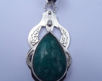 Amazonite and Clear Topaz Sterling Silver Pendant / Sterling Silver /  Southwestern Jewelry / Amazonite Pendant / Amazonite Pendant