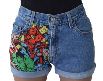 Marvel Avengers High Waisted Shorts MANY SIZES