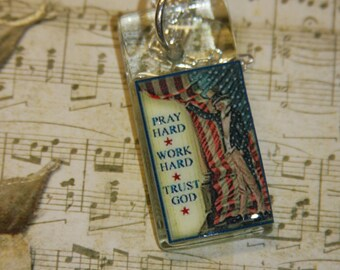 Glass rectangle patriotic Uncle Sam red white blue necklace